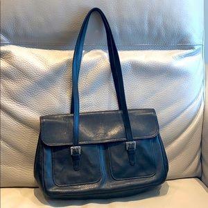 LONGCHAMP Vintage Black Large Pebbled Leather Bag